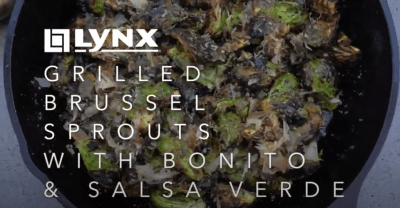 Grilled Brussel Sprouts with Bonito & Salsa Verde